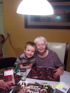 Liam and his great-grandma, Kathleen - 85 years young!