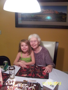 Lizzie and her great-grandma, Kathleen - 85 years young!